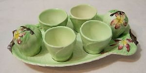 Carlton Ware Embossed 'Apple Blossom' Egg Frame/4 Egg Cups & Cruet Set - 1930s